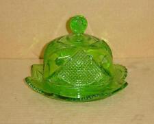 EAPG EMERALD GREEN UNIQUE BUTTER DISH COOPERATIVE FLINT GLASS 1898