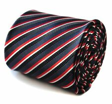 Navy, Black & Red Striped Mens Pole Dancing Tie by Frederick Thomas FT729
