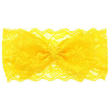 Yellow Newborn Girl Kid Baby Toddler Infant Lace Bow Headband Hair Band Headwear
