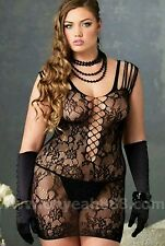 Floral Mini Dress Bodystocking #55 Black Sexy One Size Plus Lingerie Hot Fishnet
