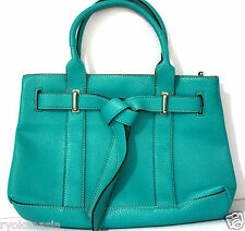 Susanna Tote Handbag Fashion Accessory Cosmetics Teal Blue Double Zipper ~ryokan