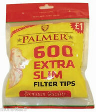 Palmer Premium Quality 600 EXTRA SLIM Cigarette Filter Tips Re-Sealable Bag New