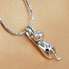 Kitten Gift Jewelry 3D Brushed Running Cat Pendant Hot Silver Plated Necklace A