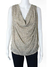NWT HAUTE HIPPIE Buff Beige Sleeveless Cowl Neck Lined Beaded Blouse Sz M