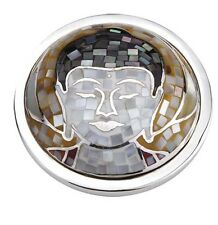 Quoins qmor - 08l-b Buddha Amazing LARGE monete Zirconia Acciaio Inox Donna Nuovo