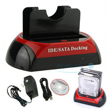 """Dual 2.5""""/3.5"""" IDE SATA HDD Hard Drive Disk All In 1 Clone Dock Docking Station"""