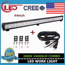 44IN 288W LED FLOOD SPOT CREE WORK LIGHT BAR OFFROAD UTE SUV 4X4 With Wiring Kit