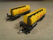 2x Trix Minitrix 3551 Kesselwagen Shell Spur N