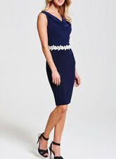 Ladies New Drape Neck Floral Waist detail Bodycon Dress In Navy Size 10 UK
