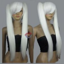 Long White Cosplay Straight Wig With Two Clip On Ponytails + Hairnet