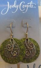 Jody Coyote Earrings JCE156 new hypoallergenic Renewal SMP857-01 silver green
