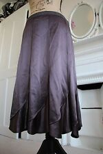 BNWT Nicole Farhi Brown Flared Silk Satin Skirt embroidered 16 Large A-Line -70%
