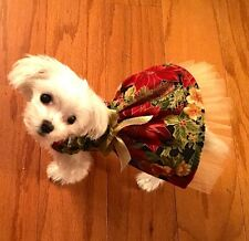 XXSmall Christmas Holiday Gold Poinsetta Dress-Dog clothes- Puppy Apparel