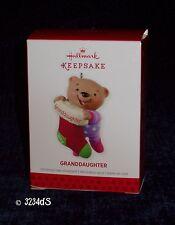 2013 Hallmark GRANDDAUGHTER Teddy Bear with Stocking Keepsake Ornament