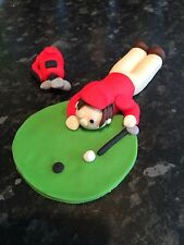 Edible Golfer , Golf Player And Golf Clubs Birthday Cake Topper Icing Decoration