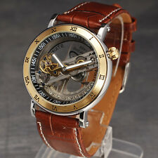 CLEAR Design Transparent Dial Automatic Men Leather Band Mechanical Wrist Watch