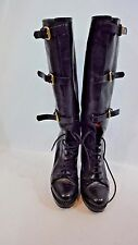 BURBERRY Black High Heeled Lace Up Boot Sz Eu 37.5