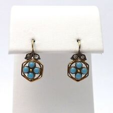 Georgian 14k Gold Turquoise Rose Cut Diamond Front Closure Leverback Earrings