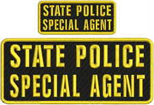 State police Special agent embroidery patch 4x10 and 2x5 hook on back gold