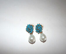 ANTHROPOLOGIE EARRINGS TURQUOISE CLUSTER PEARL DROP DANGLE POST #127