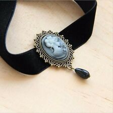Black Choker Necklace with Victorian Cameo Pendant and Black Bead,35cm For Women