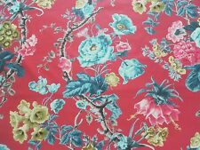 Schumacher Curtain Fabric ELIZABETH 1.25m Multi/Rouge Cotton Floral Design 125cm