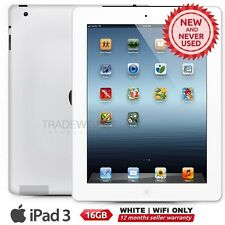 """New APPLE iPad 3 3rd Gen White 16GB WiFi Only 9.7"""" Retina Screen Tablet"""