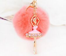 Cute Fur Pink Ball Keychain Decor Bag Plush Car Key Ring Car Key Chain Pendant