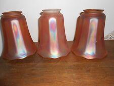 Lot of 3 Antique Vintage NUART Art Glass Marigold  Irridescent Lamp Shades