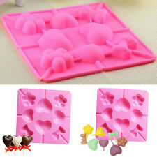 Silicone Heart Cookie Cake Chocolate Mold Lollipop Pop Baking Tray Stick Mould