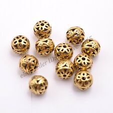 Tibetan Silver Round Metal Carved Flower Hollow Spacer Beads For Jewellry 2999