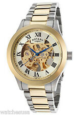 Rotary Mens Silver Dial Stainless Steel Bracelet Skeleton Watch GB00110/03