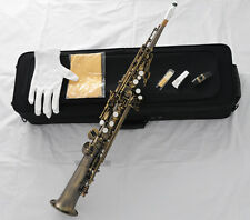 Professional Neck Built-in Soprano Saxophone Bb Antique Sax High F# +Metal Mouth