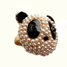 Fun Black & White Crystal Large Pearl Panda Head Ring sz 6