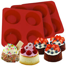 3 Silicone Cake Cup Molds Set 12 Pans Dessert Shell Baking Shortcake Mini Soft