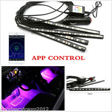 4 Pcs 12LED Multi Color Autos Footwell Atmosphere Lights Phone APP Music Control
