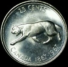 1967 SILVER CANADIAN/CANADA 25 CENT COIN (SILVER LYNX COIN) CIRCULATED