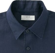UNIQLO Men's 100% Premium French Linen Long-Sleeve Shirt MEDIUM Navy Blue *NWT*