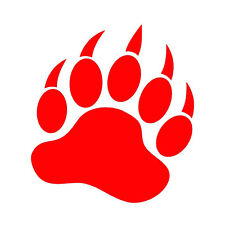 """GRIZZLY BEAR PAW V1 (5"""" RED) Vinyl Decal Window Sticker"""