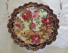 "Antique Japanese Nippon Hand-Painted 12.5"" Cobalt Blue Plate with Roses"