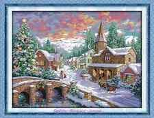 Kit broderie point de croix Paysage d'hiver ,Cross Stitch Kit Snowscape.