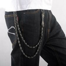 2layers Jeans Trousers Pants Belt Gear Key Chain Hip Hop Rock Gothic Metal Chain