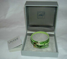 LALIQUE Paris Light Green Foil Leather Double Wrap Bracelet for Charm New in Box