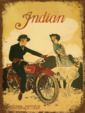 vintage retro style Indian motorcycle poster image metal sign wall door plaque