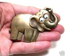 Vintage Elephant Pin Signed JJ, Jonette Jewelry, Made in Usa, Google Eyes