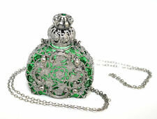 Czech Perfume/Oil/Holy Water Green Bottle Pendant Necklace holder