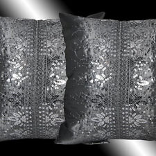 2X GRAY TAFFETA SILVER SEQUINS EMBROIDERY CUSHION COVERS THROW PILLOW CASES 16""