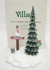 Dept 56 Village Let It Snow Snowman Sign and Tree Accessory