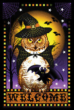 NEW LARGE TOLAND HALLOWEEN FORTUNE WELCOME FLAG SPOOKY OWL & BATS 28 X 40