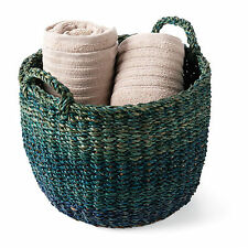 Handwoven Large Ocean Tones Storage Basket Blue and Green Natural Grass